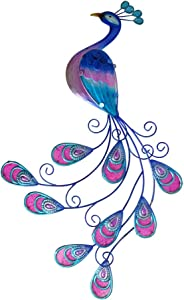 "Comfy Hour 24.8"" Metal Art Peacock Wall Décor, Blue and Pink"