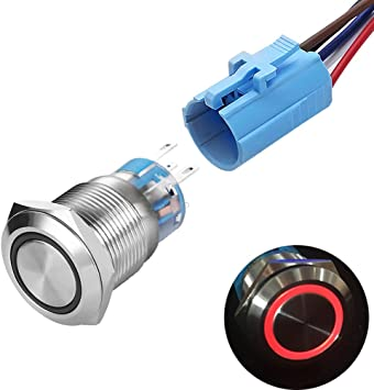 Metal Push Switch Button Waterproof Momentary Button For LED Lamp Light New 1 pc