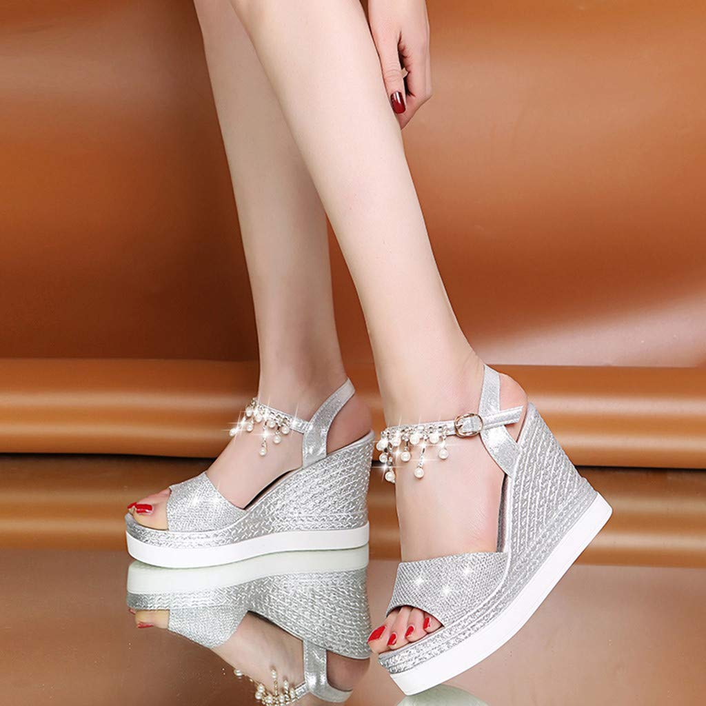 〓COOlCCI〓Womens Middle Wedge Heel Ankle Strap Open Toe Flip Sandals Espadrille Platform Wedges Sandals Slingback Silver by COOlCCI_Shoes (Image #4)