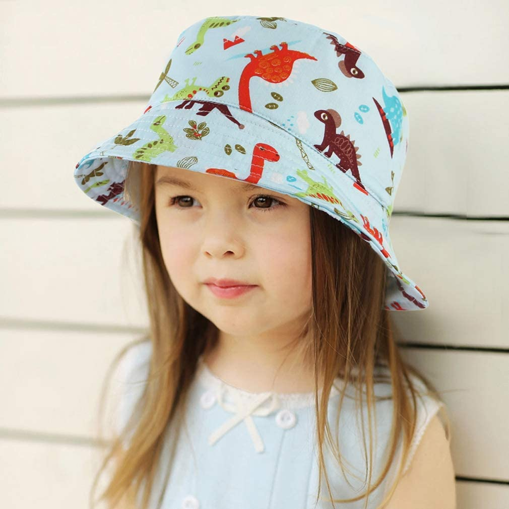 GEMVIE Baby Toddlers Floral Print Summer Bucket Hat Wide Brim UV Protection Foldable Adjustable Beach Cap Sun Hat with Chin Strap