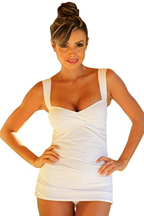 e9bd2a21bbf38 Amazon.com: UjENA White Marilyn Tankini: Clothing