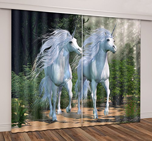 LB Teen Kids Room Darkening Blackout Window Curtains for Living Room Bedroom,Walking Unicorn Fairy Tale Theme Thermal Insulated Window Treatment 3D Window Drapes 2 Panels Set,60W x 65L Inches