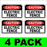 CAUTION ELECTRIC FENCE Plastic Coroplast Signs 8''X12'' w/Grommets 4 PACK White