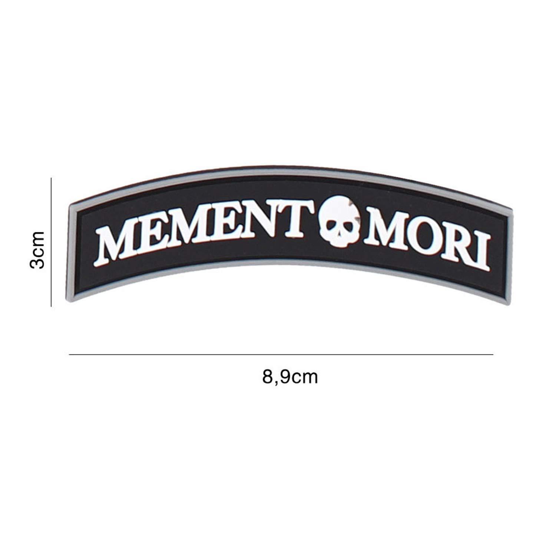 Tactical Attack Memento Mori Schrift Softair Sniper PVC Patch Logo Klett inkl gegenseite zum aufn/ähen Paintball Airsoft Abzeichen Fun Outdoor Freizeit