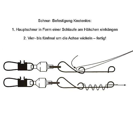 38kg 5 Stück Jenzi NO KNOT-Verbinder mit Duo-Lock Karabiner-Wirbel von 12kg