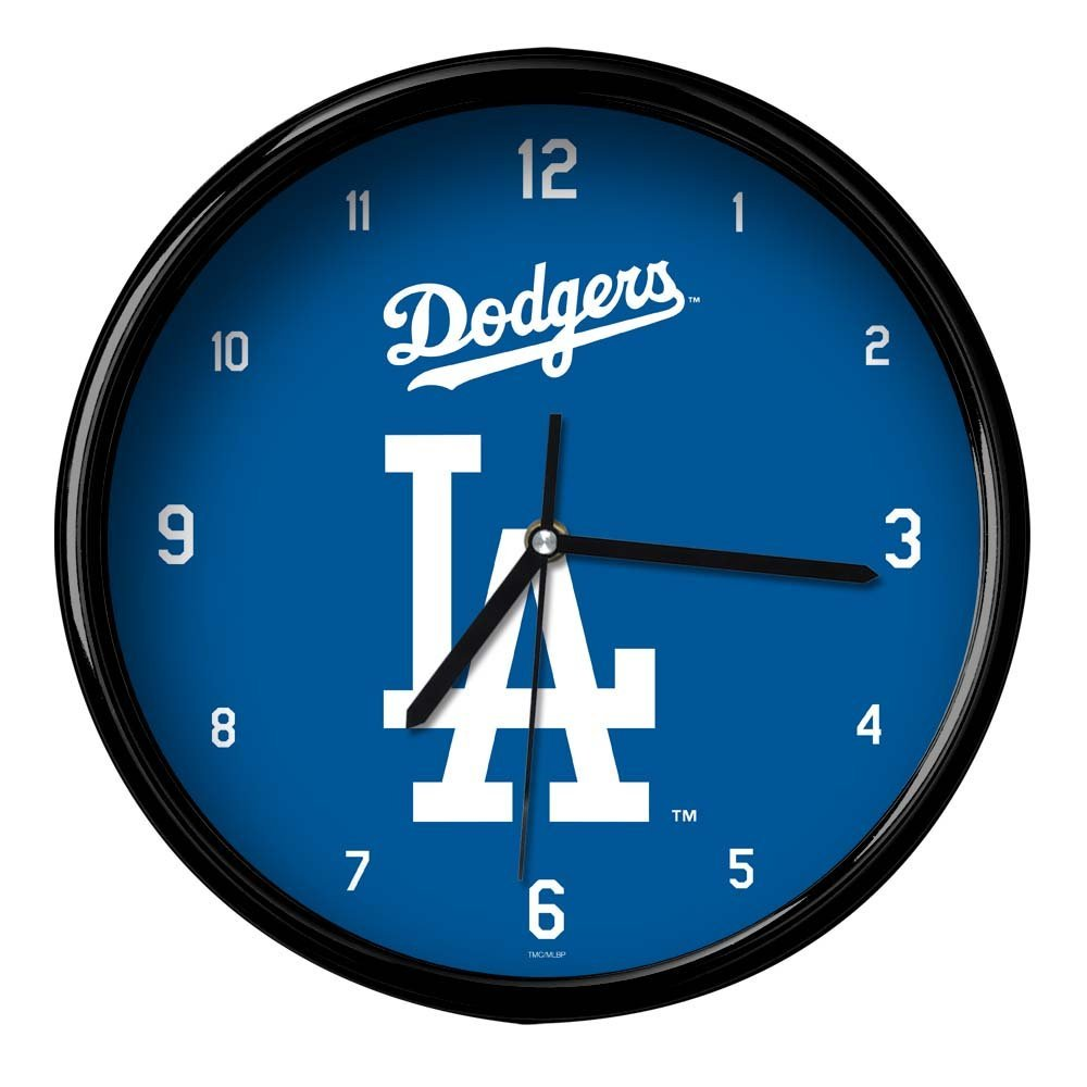 One Size Multicolor The Memory Company MLB Los Angeles Dodgers Official Black Rim Basic Clock
