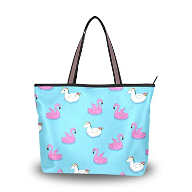 9676257de8 Amazon.com  Women Top Handle Handbag Large Tote Bag Floating Flamingo And  Unicorn Shopping Travel Shoulder Bag  Shoes