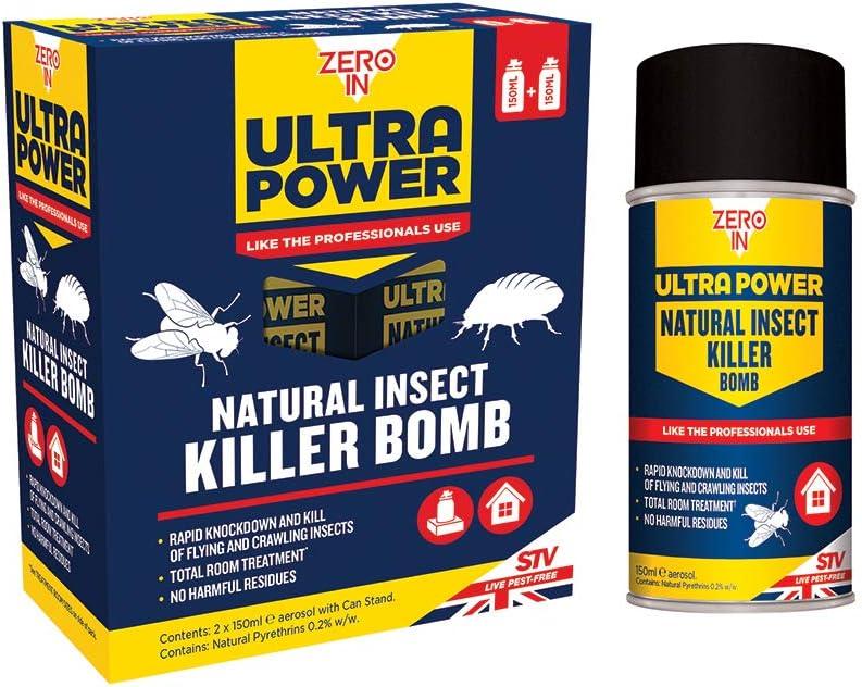 Zero In 150 ml Ultra Power Natural Insect Killer Bomb (One-Shot Aerosol Bomba, Mata Moscas, Moscas de Cluster, Fleas, Cama Bugs, Uso en Hogares, Lofts y Outbuildings), Pack de 2