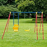 MD Group Kids Swing Set Double A-Frame Iron & Chair Ladder for 5 Children Outdoor Play