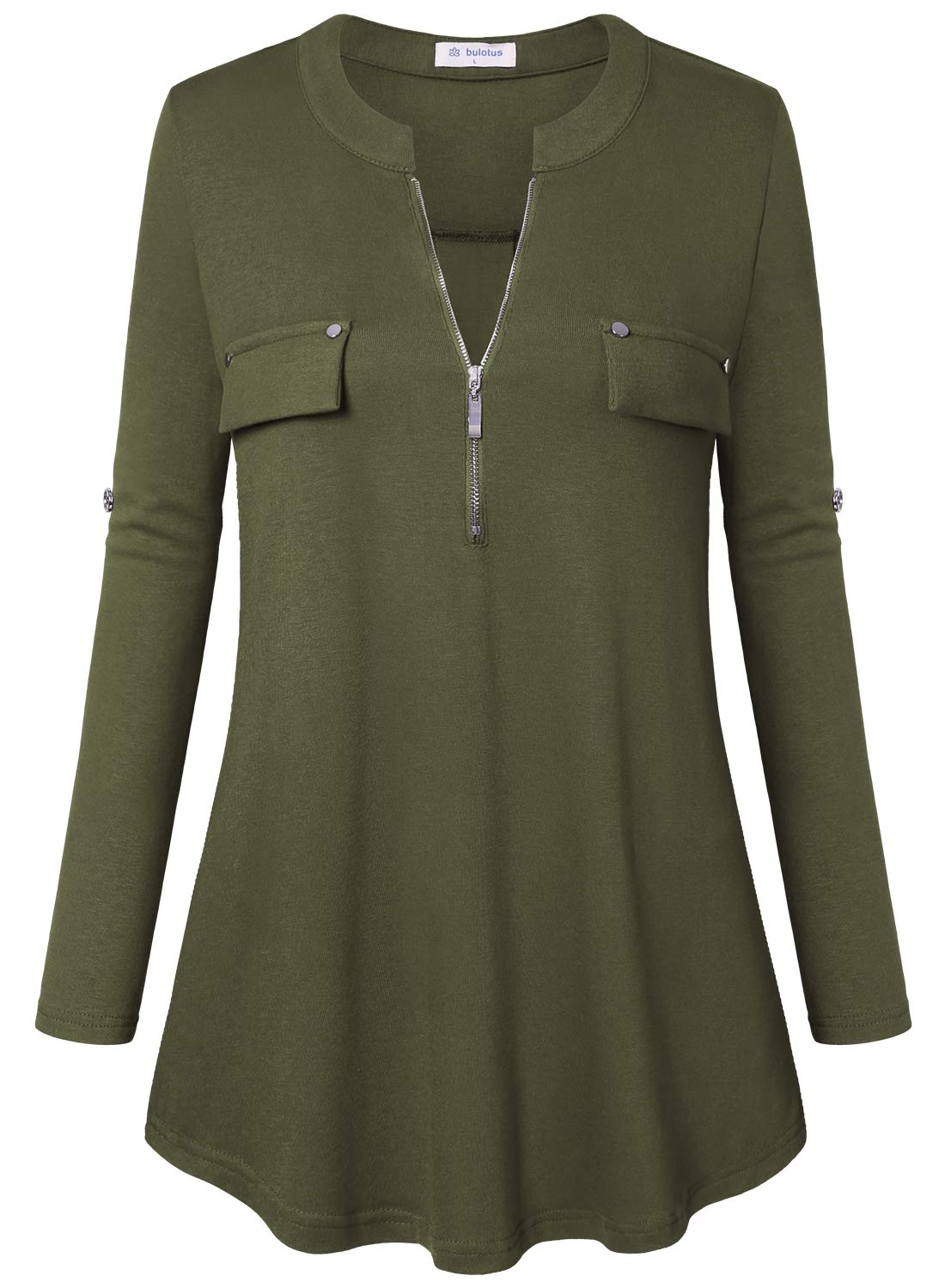 Bulotus Women's Plus Size Solid 3/4 Sleeve Zipper Top Casual Shirt,Green,XX-Large by Bulotus (Image #3)