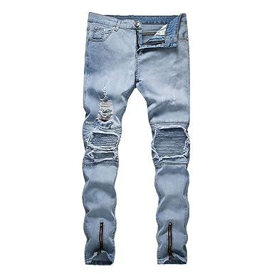 8692374eff71e Saoye Fashion Jeans en Denim pour Homme Destroyed Strech Slim Trous  Déchirés Vêtements Denim Jeans Pantalons