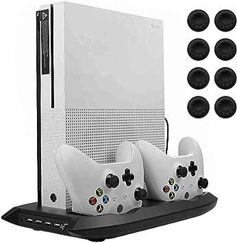 lictin Xbox One S soporte vertical ventilador de refrigeración con doble estación de carga para 2 mandos de Xbox One S + 8 silicona pulgar para mando de Xbox One S: Amazon.es: Electrónica