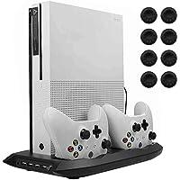 Lictin - Ventilador Vertical para Xbox One S con estación de Carga Doble para 2 Controladores Xbox One S y 8 Pulgares de Silicona para Control Xbox One S, Color Negro
