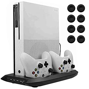 Lictin Xbox One S Vertical Stand Cooling Fan with Dual Charging Station for 2 Xbox One S Controllers + 8 Silicone Thumbs for Xbox One S Controller Black