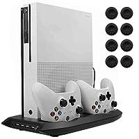 Lictin Xbox One S - Ventilador de refrigeración Vertical con Doble estación de Carga para 2 mandos Xbox One S y 8 Pulgares de Silicona para Driver Xbox One S, Color Negro
