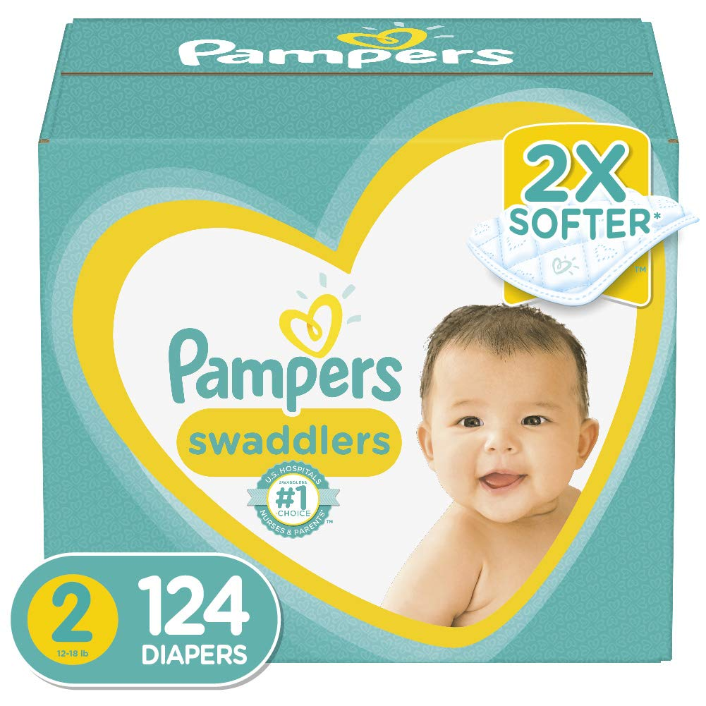 Diapers Size 2, 124 Count – Pampers Swaddlers Disposable Baby Diapers, Giant Pack