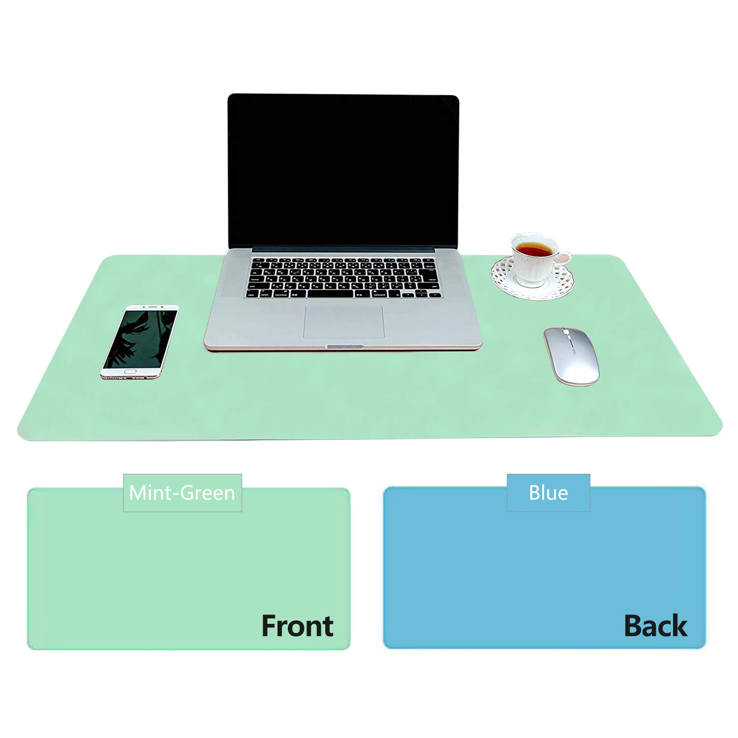 Practical Office Desk Pad Protector, Mint Green - Sky Blue Double-Sided Desk Mat – 31.5'' x15.7'' PU Leather Computer Pad Comfortable Writing Surface Desk Accessories for Women - Office/Home Décor