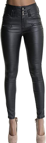 Ecupper Womens Faux Leather Pants High Waisted Trousers Skinny Coated Leggings Jeans