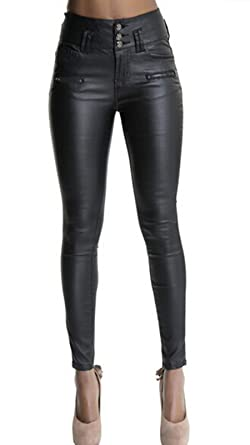 a43a74628f7e0a Ecupper Womens Black Faux Leather Pants High Waisted Skinny Coated Leggings  26 quot  Inseam-Petite