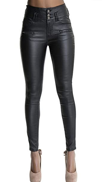 Ecupper Womens Black Faux Leather Pants High Waisted Skinny Coated Leggings  26 quot  Inseam-Petite 1fe2eb6630
