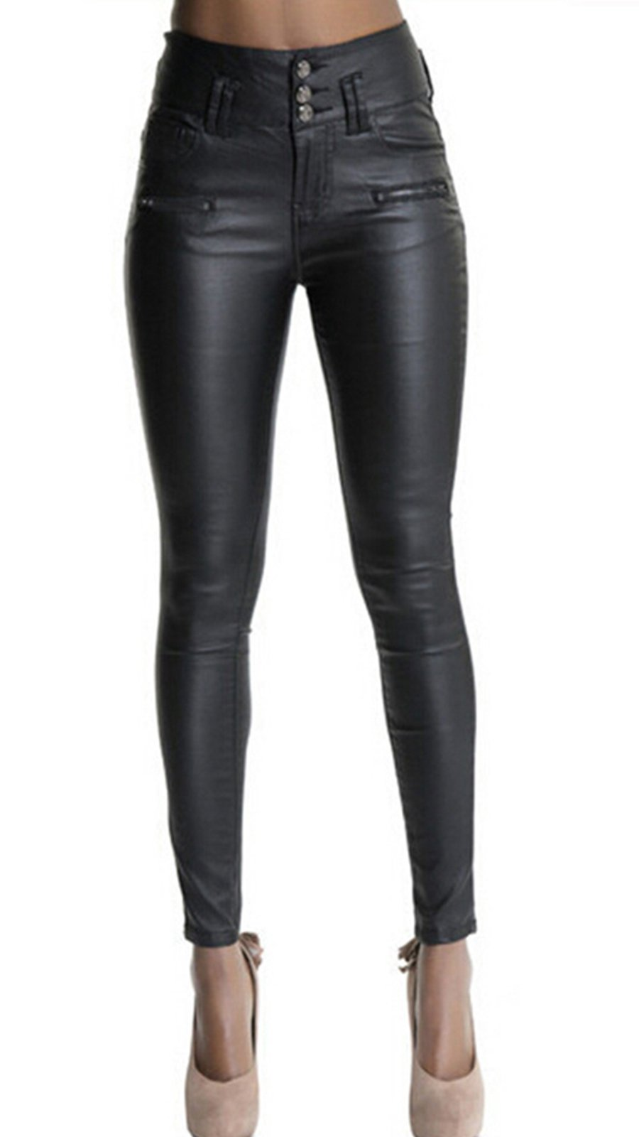 Ecupper Womens Black Leather Pants High Waisted Skinny Coated Leggings 29'' Inseam-Regular L-38