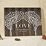 Vintage Persoanlized Wedding Guest Book Alternative Double Trees on Art Canvas Custom LOVE Wedding Guestbook Poster with Leaves for Signature 16x20 Inches Wedding Gfits for 200 Guests