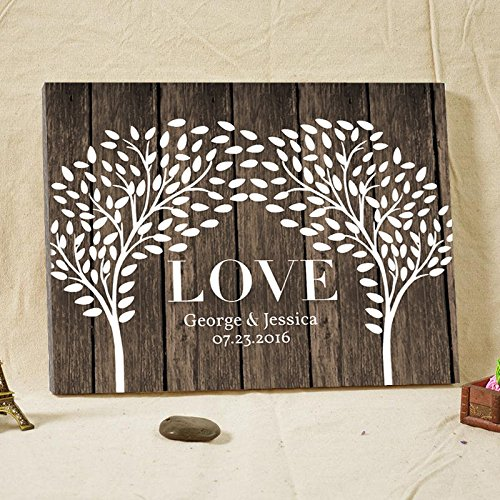Vintage Persoanlized Wedding Guest Book Alternative Double Trees on Art Canvas Custom LOVE Wedding Guestbook Poster with Leaves for Signature 16x20 Inches Wedding Gfits for 200 Guests by Larmai