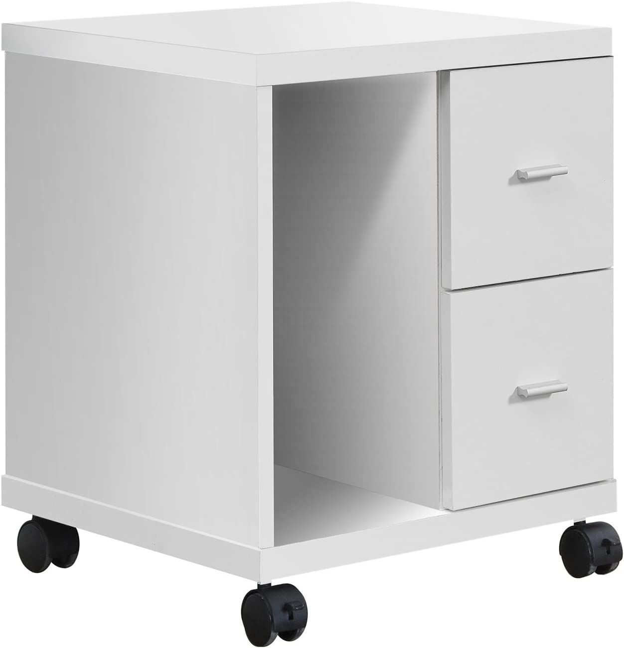 Monarch Specialties White Hollow-Core 2 Drawer Computer Stand on Castors