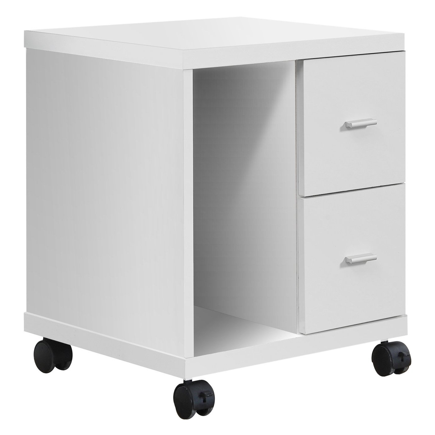 Monarch Specialties I 7055 White Hollow-Core 2 Drawer Computer Stand on Castors