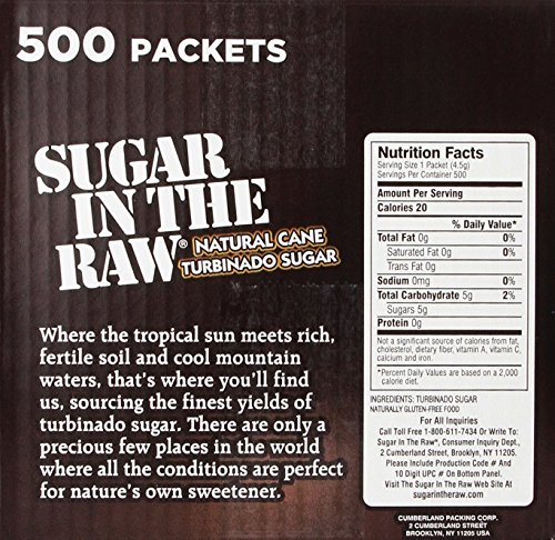 Amazon.com : Sugar in the Raw / Raw Sugar Natural Cane Turbinado, 500 Count, Pack of 1 : Grocery & Gourmet Food