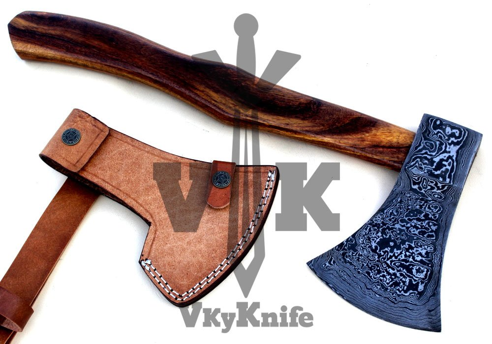 Handmade Damascus Steel Axe Hatchet Tomahawk Knife - 17 Inches Rose Wood Handle JNR9062 by JNR TRADERS (Image #2)