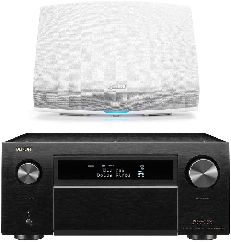 Denon AVR-X8500H 13.2 Channel Home Theater Receiver (Black) with HEOS 5 Wireless Streaming Speaker - Series 2 (White)