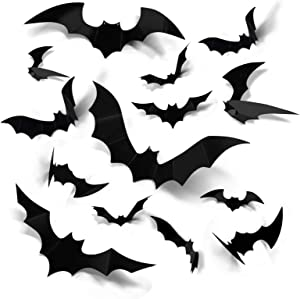 Coogam Halloween 3D Bats Decoration, 60PCS 4 Sizes Realistic PVC Scary Bats Window Decal Wall Stickers for DIY Home Bathroom Indoor Hallowmas Decoration Party Supplies