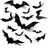 Coogam Halloween 3D Bats Decoration, 60PCS 4 Sizes Realistic PVC Scary Bats Window Decal Wall Stickers for DIY Home Bathroom
