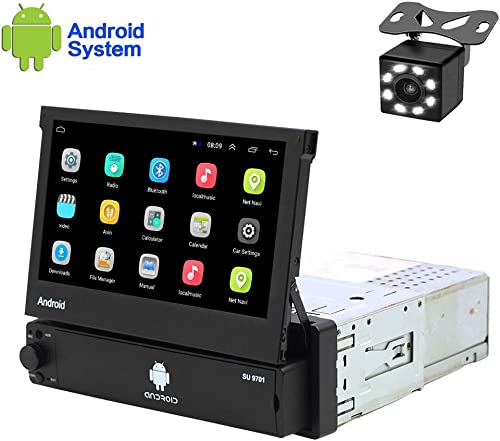 Hikity Android Single Din Car Stereo 7 Inch Flip Out Touch Screen Radio Supports FM Bluetooth WiFi GPS Navigation Mirror Link for Phone Android iOS Backup Camera