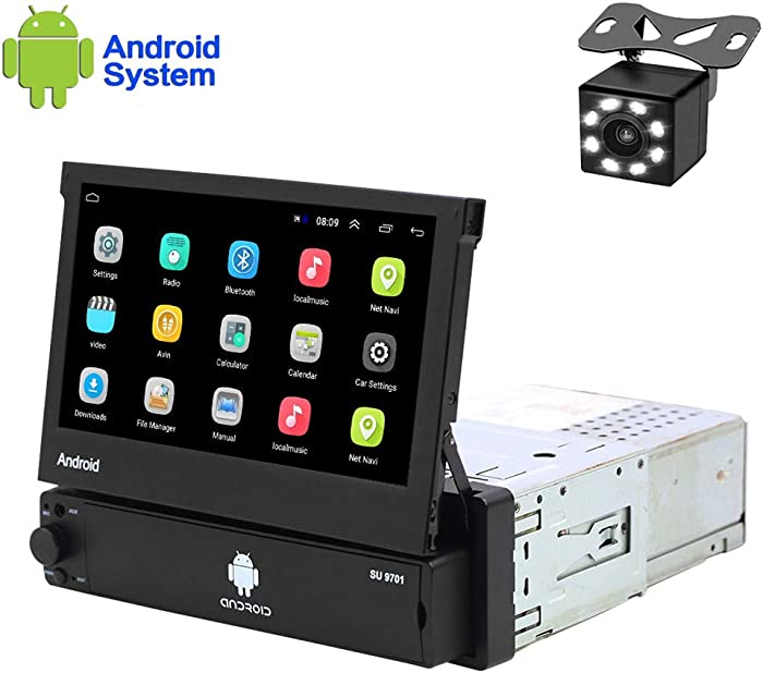 Hikity Android Single Din Car Stereo 7 Inch Flip Out Touch Screen Radio Supports FM Bluetooth WiFi GPS Navigation Mirror Link for Phone Android/iOS + Backup Camera