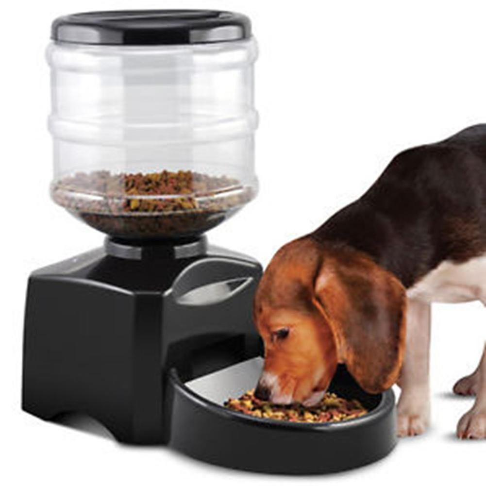 Automatic Pet Feeder Programmable Timer Food Station Dispenser Container for Dog Cat with Electronic Small Large Meal Portion Control Voice Recording