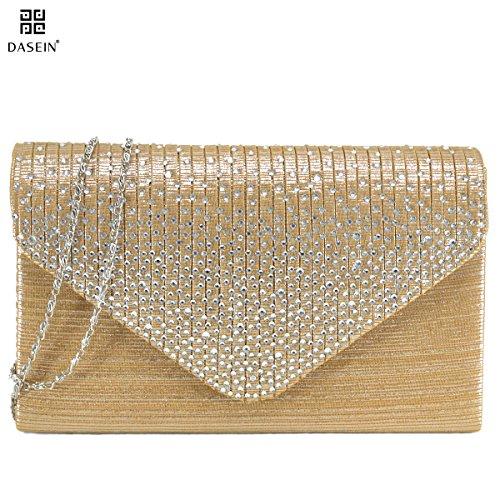 Dasein Women Frosted Satin Evening Bag Clutch Purse Crossbody Handbags Party Prom Wedding Envelope