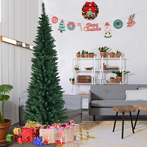 Goplus PVC Artificial Pencil Christmas Tree Slim Tree w/ Metal Stand for Indoor and Outdoor, Green (7 FT) Slim Christmas Trees