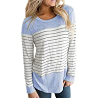 DaySeventh Womens Long Sleeve Round Neck T Shirts Color Block Striped Causal Blouses Tops