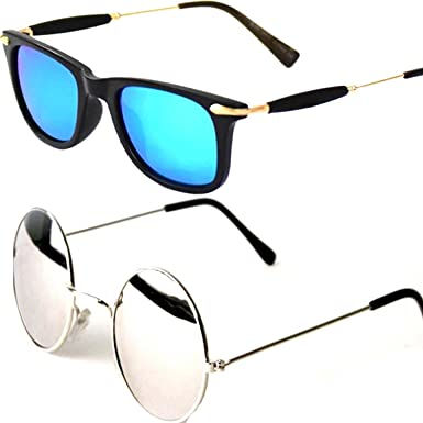 34a06c742 Mr. Brand Blue Wayfarer | Silver Mercury - Womens/Girls Round Sunglasses  Combo PACK OF 2 GOGALS WITH 2 BOX (GoldenStick-BlueWayf-RDSSM): Amazon.in:  Clothing ...