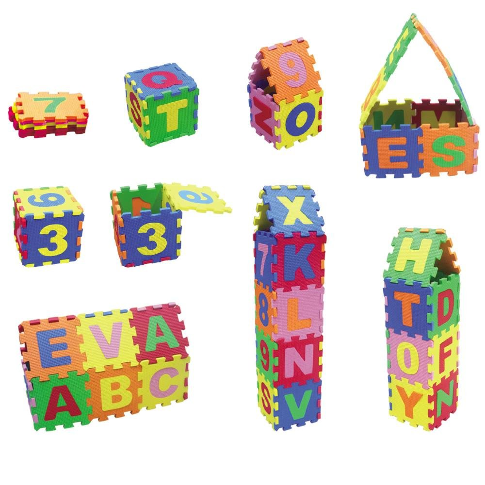 Boys Soft Easy to Clean by Dimple Baby Foam Play Mat 36-Piece Set 5x5 Inches Interlocking Alphabet and Numbers Floor Puzzle Colorful EVA Tiles Girls Reusable