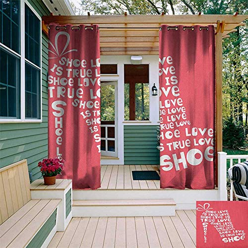 leinuoyi Quote, Outdoor Curtain Grommet, Shoe Love is True Love Fashion Colored Woman Shoe Made from Quotes Funny Artwork, Outdoor Curtain Set for Patio Waterproof W108 x L108 Inch Coral White ()