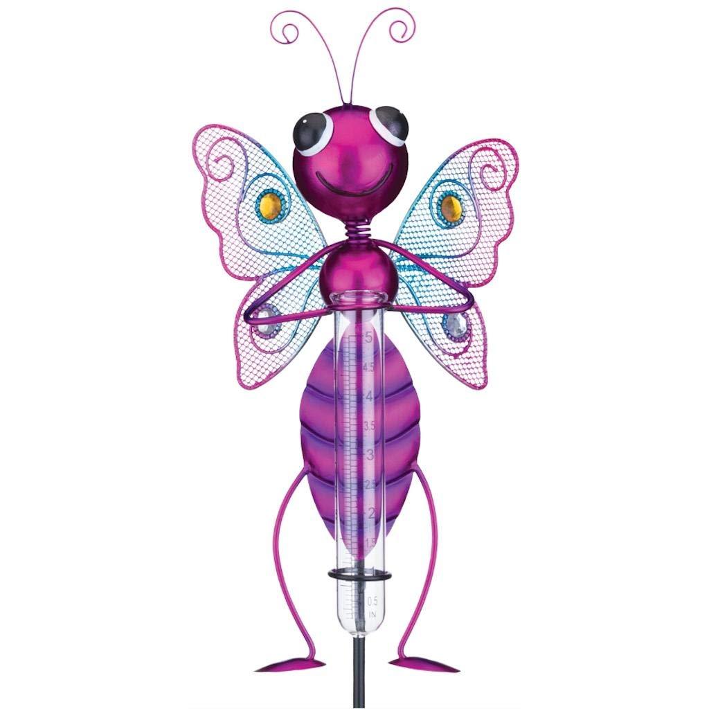 Regal Art & Gift 12143 Bug Stake-Butterfly Pink Rain Gauge