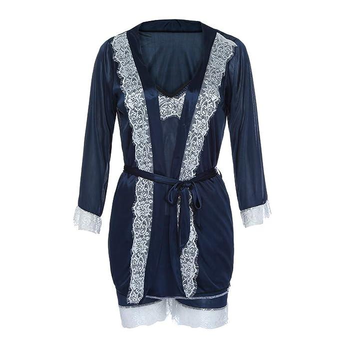 Linlink Ropa interior erótica 3Pc Mujeres Sexy Seda Kimono Babydoll Encaje LenceríA Albornoz Ropa De Noche Bodysuit: Amazon.es: Ropa y accesorios