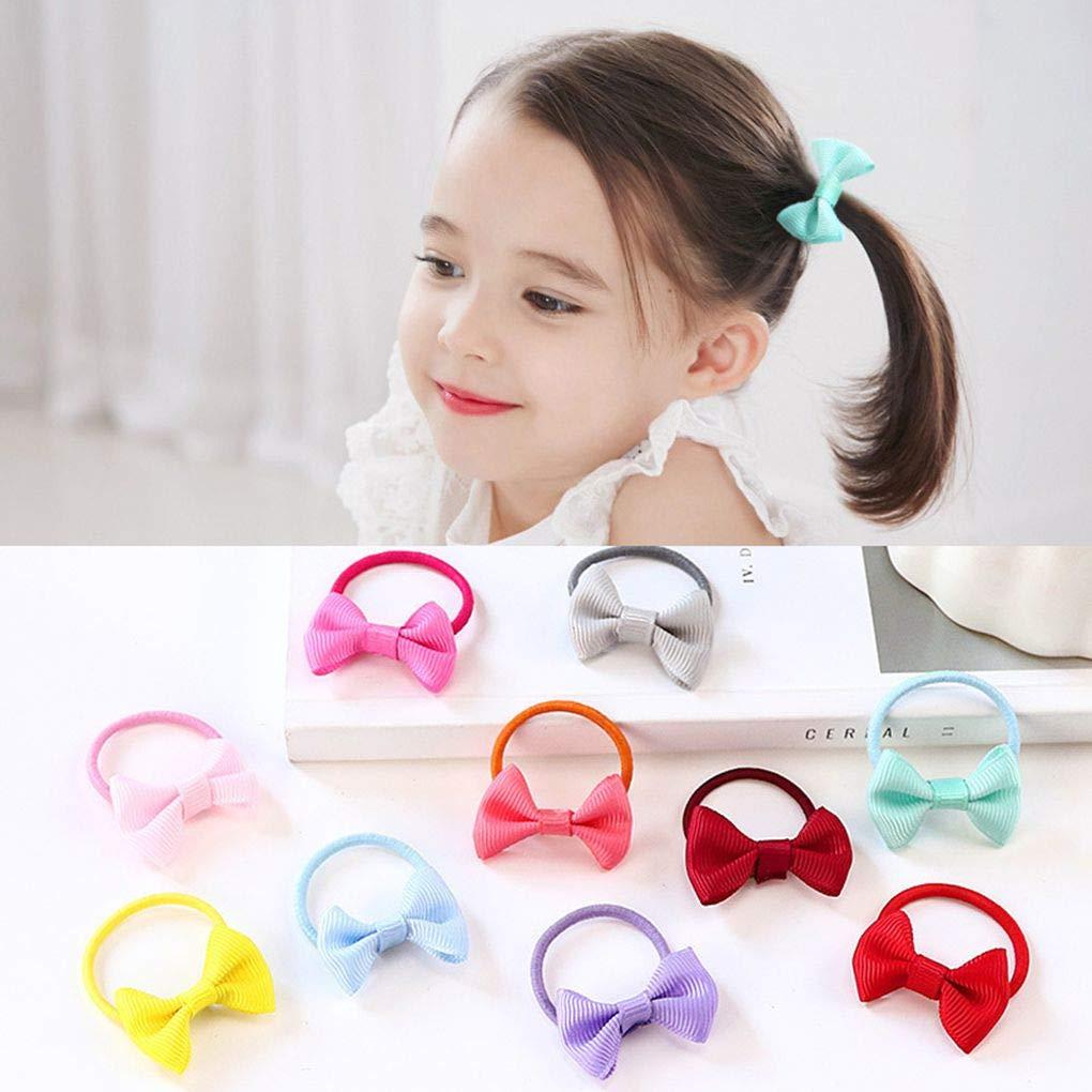 NUOLUX Elastic Hair Ties for Girls Cute No Damage Pompom Elastic Ponytail Holder 10pcs