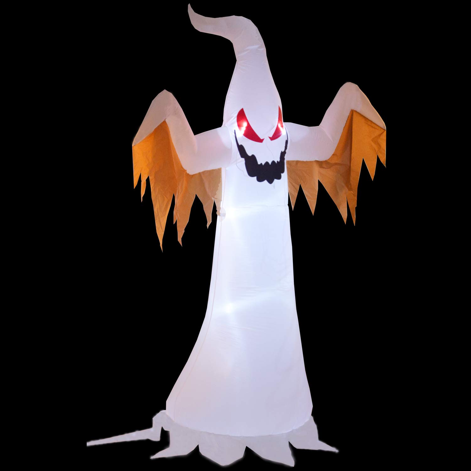 Phoenixreal 8 Foot Halloween Inflatable Air Blown White Ghost with Red Eye Lighted for Home Yard Garden Indoor and Outdoor Decoration