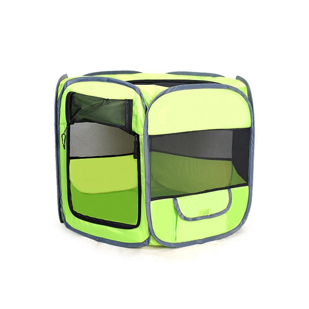 Green M 29.6 x 23.8 x 18\ Dog Playpens Indoor Outdoor, Aolvo Portable Foldable Pet Dog Cat Playpen Exercise Pens Crates Kennel Cage with Premium 600D Oxford Cloth,Zippered Breathable Mesh, Storage Pockets for Comfort Pet