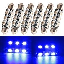 "Everbright 6-Pack Blue 44MM 1.72"" 5050 Chipes 12-SMD 211-2 212-2 569 578 LED Festoon Interior Map / Dome Dome / Trunk / Glove Box Lights LED Lamp (DC-12V)"