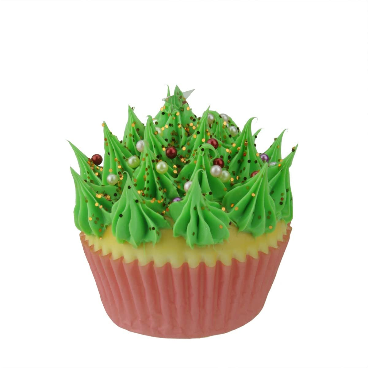 """Kurt Adler 3"""" Cupcake Heaven Green Frosted and Topped with Beads and Glitter Sweet Dessert Christmas Ornament"""